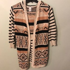 American Rag Knit Open Front Hooded Cardigan Med